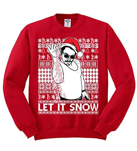 Salt Bae Let It Snow | Mens Ugly Christmas Crewneck Graphic Sweatshirt, Red, Large