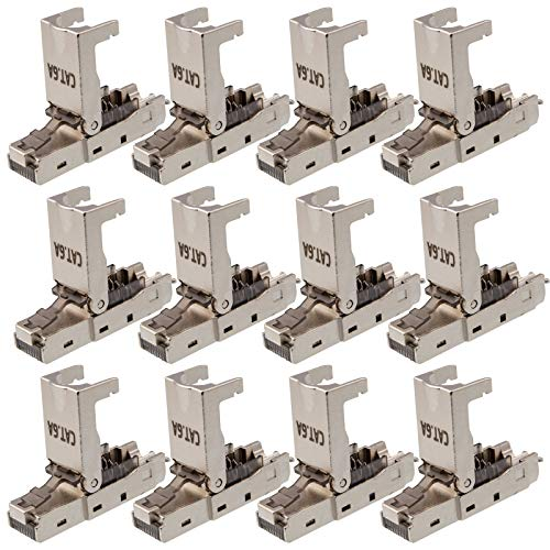 hb-digital 12x CAT.6a RJ45 Stecker Crimpstecker Werkzeuglos für CAT.7 CAT.7a CAT.6 und CAT.6a Netzwerkkabel Ethernet LAN Kabel vergoldete Kontakte Metallgehäuse 500 MHz DSL PoE 10 Gbit/s Connector