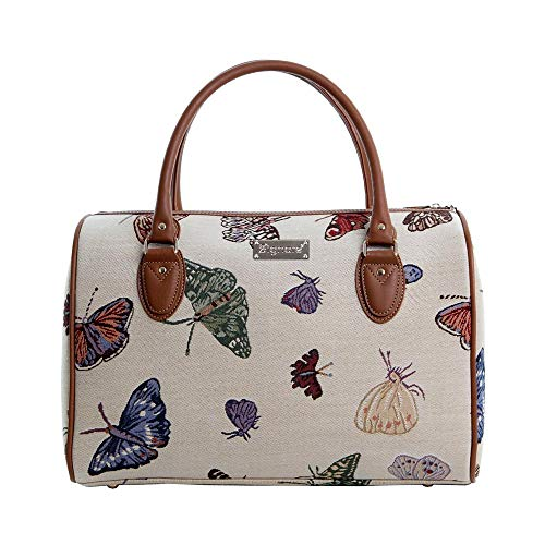 Tapisserie Siganre Sac De Voyage Femme, Bagage à Main, Weekender, Gym Bag avec Garden Designs (Papillon)