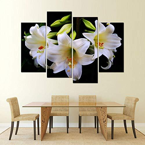 ANTAIBM® 4 Leinwandmalerei HD-Druck Holzrahmen - verschiedene Größen - verschiedene StileHD gedruckte Leinwand Malerei auf Ölgemälden 4 Panel schöne Blumen Wand für Wohnzimmer Malerei modulares Bild