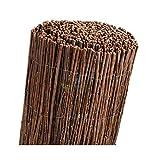 Clôture en osier naturel brossé pour cacher, ombrer ou délimiter votre jardin. 2 x 5 m.