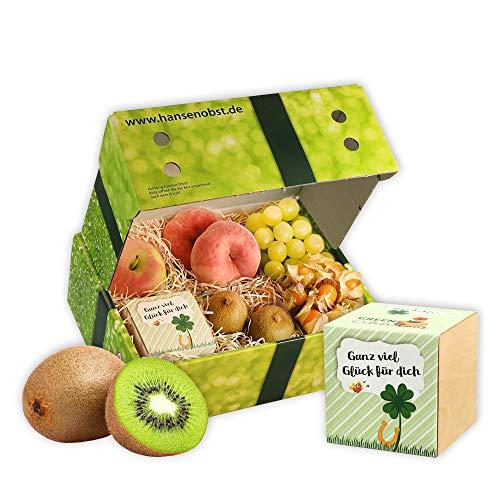 Obstbox Ich wünsch dir viel Glück mit frischem Obst und echter Glücksklee Pflanze im Ecocube in klassischer Geschenkbox
