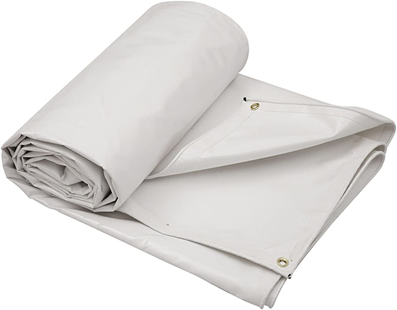 WUFENG Tarpaulin Thicken PVC Soft AntiCorrosion Antifreeze Rainproof Sun Predection Windproof 3 Defense Linoleum Knife Cloth AntiAging Outdoor 0.6mm Thick 650g m2 (color   White, Size   6x5m)