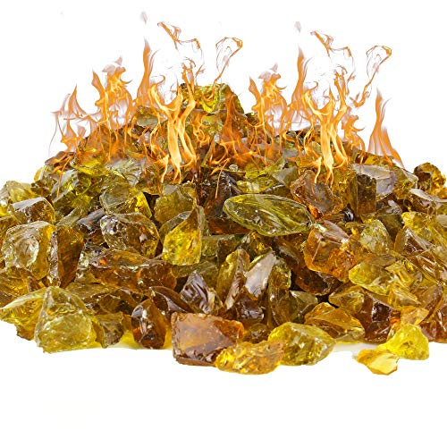 CYS EXCEL Amber Fire Pit Glass Rocks (Pack of 20 LBS, Approx. 2 SQ. FT.) | Multiple Color Choices Fireplace Tempered Glass Rock Crystals | Decorative Landscaping Glass Pebble Stones