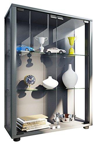 """VCM Sammelvitrine Standvitrine Glasvitrine Glasregal Vitrine Glas Schaukasten mit LED-Beleuchtung Silber \""""Sintalo\"""""""