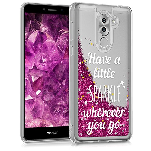 kwmobile TPU Silicone Case for Huawei Honor 6X / GR5 2017 / Mate 9 Lite - Soft Flexible Protective Cover with Flowing Liquid - Glitter Snow Sparkle Silver/Dark Pink/Transparent