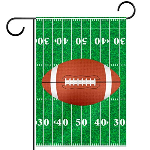 YATELI Garden Yard Flag 12x18 Inch American Football Field and Ball Illustration Double-Sided Banner for House Home Outdoor Party Decor