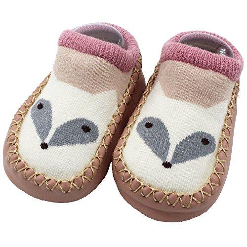 BUKINIE Toddler Girls Boys Mignon Épais Chaud Chaud Chaussettes Confortables Tout-Petit Premiers Marcheurs Berceau Étage Chaussettes Chaussures(F,2-3 Ans)