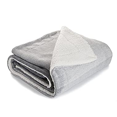 Bedsure Sherpa Throw Blankets Gradient Grey Twin Size Fleece Bed Blankets, Reversible Fuzzy Soft Cozy and Warm Sofa Fluffy Blanket 60 x80