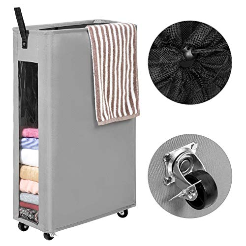 WOWLIVE 27 inches Slim Rolling Laundry Hamper with Wheels Tall Thin Laundry Basket with Clear Window Handy Collapsible Clothes Hamper Mesh Cover Rectangular StorageCorner Bin Grey1