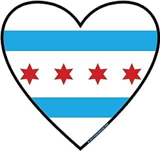 Chicago City Flag Sticker Heart Shaped Vinyl Decal Label Stickers, Die-cut Shape for Water Bottle Laptop Luggage Bike Laptop Car Bumper Helmet Waterproof Show Love Pride Local Spirit. 312