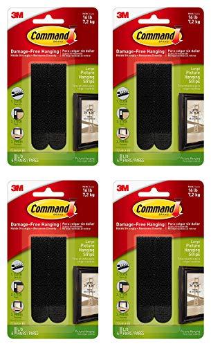 Command Tiras para colgar cuadros, color negro, tamaño mediano, decoración sin daños (17206BLK) – 4 unidades