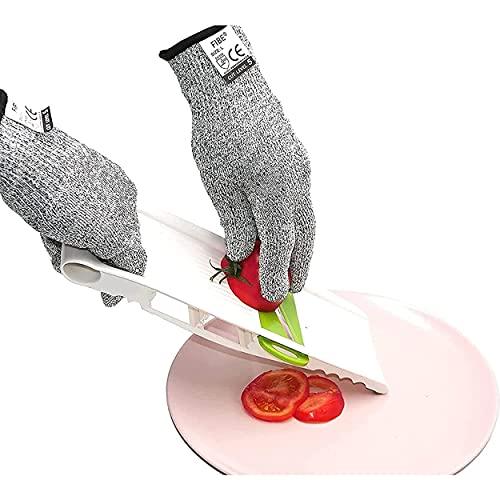 Gants de Protection Anti Coupure Kevlar Cuisine Bricolage manutention Mandoline Huitres Protection de sécurité, Niveau 5 (Taille L). Gants de Haute résistance Norme CE pour garantir Votre sécurit