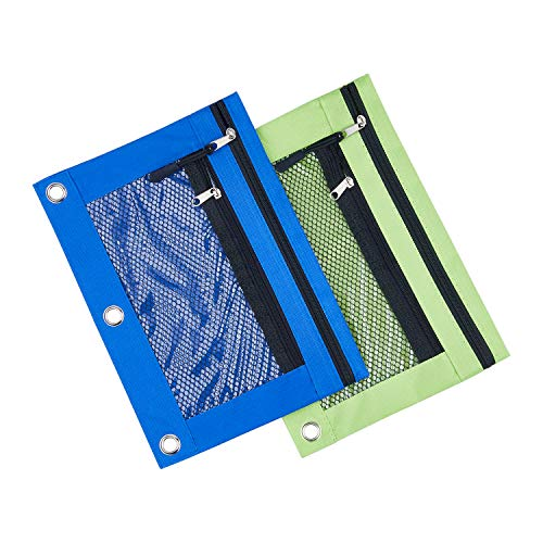 3 Rings Binder Pencil Pouch, Pencil Case with Double Pocket and Mesh Window (Blue&Green 2pack)