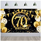 SUNSHINETEK Banner de telón de Fondo para Fiesta de Feliz cumpleaños Tela Extragrande Cartel de Fondo para Fiesta de cumpleaños número 70 Cartel de Cartel de Oro Negro para decoración de Fiesta