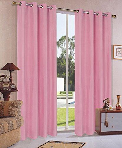 Vorhang Blickdicht Schal, 2 Stück 245x140 (HxB) Matte unifarbene Gardine mit Ösen, Pink Material aus Microsatin Micofaser-Gewebe, 204050