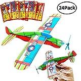 BESTZY Glider Plans, 24Pcs Couleur aléatoire Voler Planeur Avions Jouets pour Les Jeunes Filles garçons Fête d'anniversaire Favor Avion Grand Prix Handout école Cadeaux