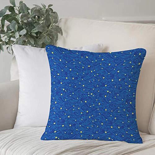 Funda de Cojín duradero Fundas de Almohada Decorativa,Noche estrellada, Patrón de estrellas y nubes con curvas Galaxy Tema Cuerpos celestes, Azul A,Funda de Cojín con Cremallera Invisible 45 x 45 cm