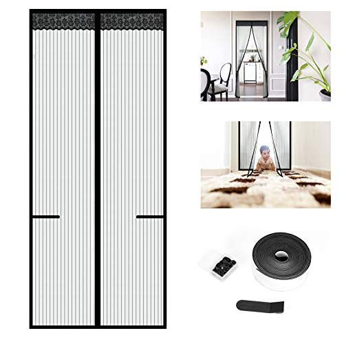 Cortina de Puerta Magnética, Wokkol Mosquitera Puerta Magnética, con Tiras de Almacenamiento en los Lados, Apagado Automático, para Cocina/Sala de Estar/Dormitorio (90x210CM)