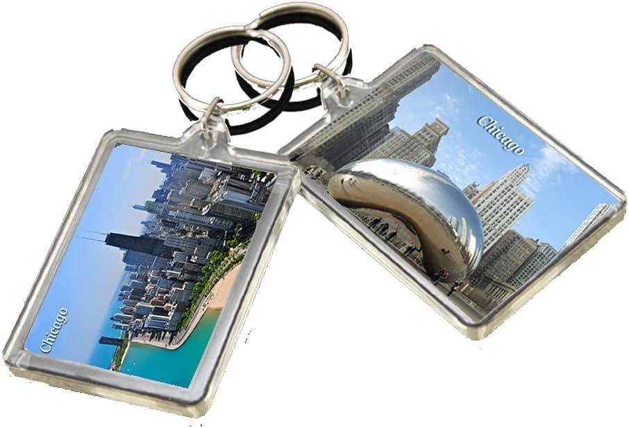 KR002 Chicago City Keychain United States Travel Photo Keyring