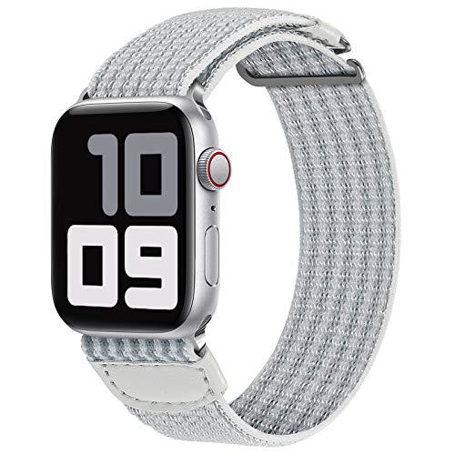 JUVEL Kompatibel mit Apple Watch Armband 38mm 40mm 42mm 44mm, Weiche Nylon Gewebe Sport Schlaufe Ersatz Armbänder Kompatibel für iWatch SE/iWatch Series 6/5/4/3/2/1, 38mm/40mm, Weiß Grau