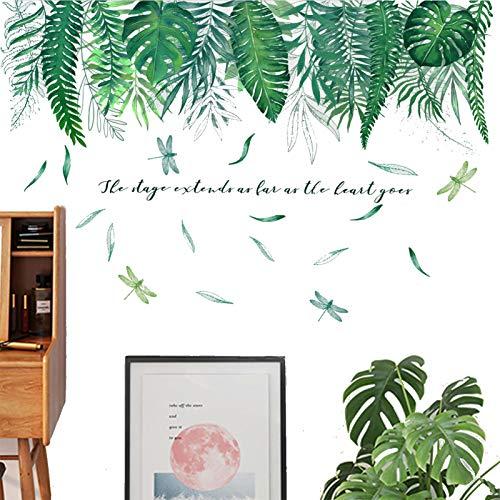Wandtattoo Blätter Grün Tropische Pflanzen, TANOSAN DIY Wandtattoo Palme Grüne Pflanze Blätter Wandsticker Wanddeko, Deko für Wohn-Schlafzimmer Kinderzimmer Küche Flur (Grün)