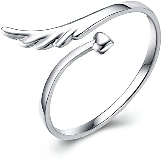 Angel Wing Simple Open Rings Band Sterling Silver Adjustable Finger Toe Ring Wedding Promise Band for Women Girls