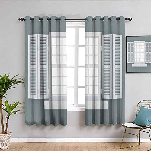 Cortinas de decoración para dormitorio con ilustración gráfica de persianas de madera estilo rústico tradicional decoración del hogar fácil de limpiar gris y blanco de 72 x 72 pulgadas