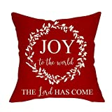 Pycat Joy to The World The Lord Has Come Throw Pillow Cover 18 x 18 for Sofa Couch Winter Christmas Holiday Decoration Xmas Farmhouse Home Décor Wreath Decorative Pillowcase Cotton Linen Cushion Case