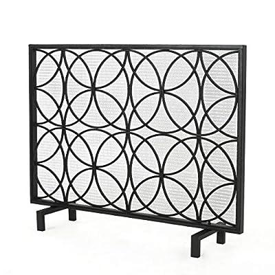 Christopher Knight Home Valeno Single Panel Iron Fireplace Screen, Black by GDF Studio