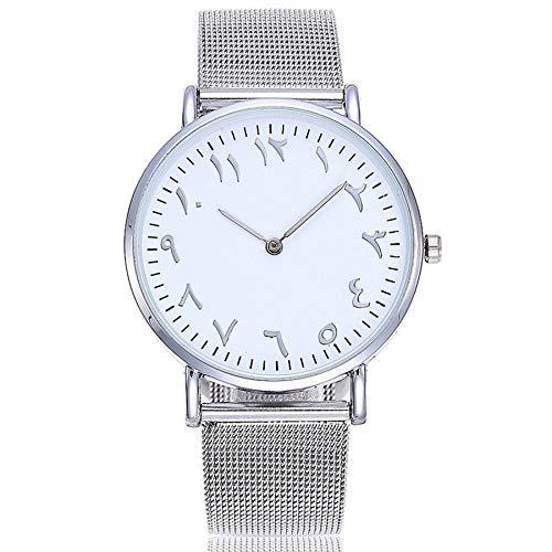 SODIAL Números árabes de Plata Reloj Moda Casual Mujeres Aleación Relojes de Pulsera de Cuarzo