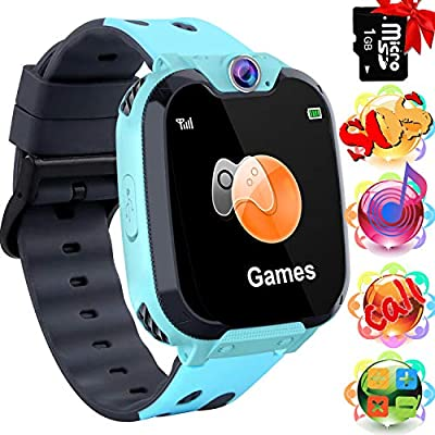 [1GB SD Card Included] Kids Smart Watch for Boy Girl, Music Sports Kid Smartwatches HD Touch Screen Funny Game (Blue)