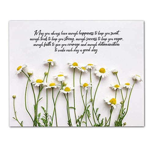"""""""May You Always Have Enough Happiness…"""" Botanical Wall Art Blessing – Unframed 11 x 14 Photographic Print – Makes a Great Gift for Family and Friends"""