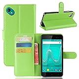 95Street Handyhülle für Wiko Sunny 2 Plus Schutzhülle Book Hülle für Wiko Sunny 2 Plus, Hülle Klapphülle Tasche im Retro Wallet Design mit Praktischer Aufstellfunktion - Etui Grün