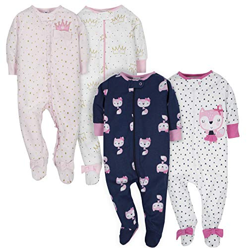 Gerber Baby Girls' 4 Pack Sleep N' Play Footie, Fox/Princess, 3-6 Months