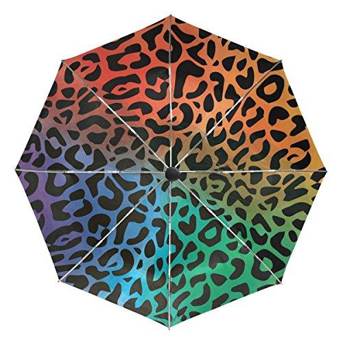 Ieararfre Paraguas Impresión de Leopardo, Triple Pliegue, Resistente al Viento, Mango ergonómico, toldo Reforzado, Apertura y Cierre automático, Varios Colores