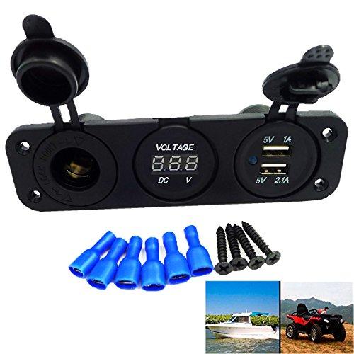 GEREE - Voltmetro digitale impermeabile con 2 porte USB, uscita 2,1A/1,0A 12V LED digitale per moto, auto e imbarcazioni, Three Hole Panel, 1