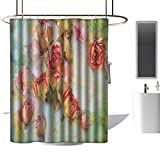 <span class='highlight'><span class='highlight'>TimBeve</span></span> Hotel Grade Shower Curtain Rose,Dried Roses Petals Leaves Nostalgic Fragile Floral Vintage Abstract View Artistic, Multicolor,Metal Rust Proof Grommets Bathroom Decoration 36
