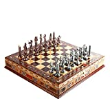 ADSE Juegos Tradicionales ajedrez Egipto Faraón Figuras de Cobre Antiguas Juego de ajedrez de Metal Piezas Hechas a Mano Tablero de ajedrez de Madera Maciza Natural Almacenamiento Dentro del Rey 9 cm