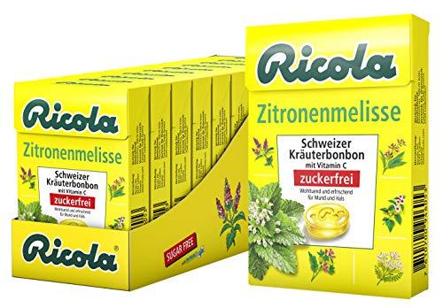 Ricola Zitronenmelisse, Schweizer Kräuterbonbon, 10 x 50g Böxli, ohne Zucker, Wohltuend und erfrischender Genuss