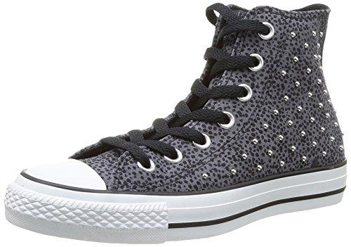 Converse Damen Schuhe Chucks Nieten Leder CT All Star Hi Schwarz-Grau Sneakers Dunkelgrau Gr. 36