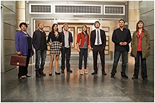 Bones David Boreanaz, Emily Deschanel and Cast Standing Looking Up 8 x 10 inch photo