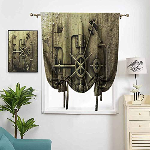 Dasnh Roman Curtains for Small Window Grunge Style Bank Vault Illustration W39 x L64 Light Blocking