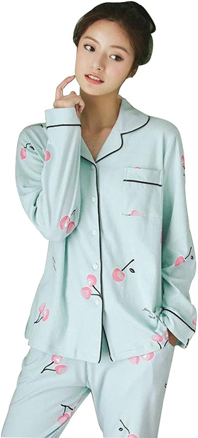 Pajamas Women's Spring and Autumn Cardigan Cotton LongSleeved VNeck Pajamas Home Service Suit Perfect (color   bluee, Size   S)