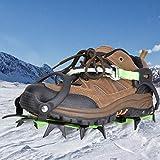 fuwinkr Crampones de Hielo 1 par 14 Dientes Crampones Agarre del Zapato Pico Senderismo Uso Escalada