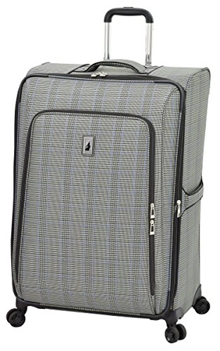 LONDON FOG Knightsbridge II Softside Expandable Spinner Luggage, Grey Sapphire Plaid, Checked-Large 29-Inch