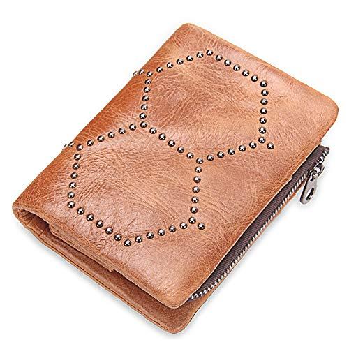 Y&M MY Monedero de Cuero extraíble Monedero Bolso de Embrague Bolsa con Tachuelas para Hombres Mujeres (Color : Brass, Size : S) (Cocina)