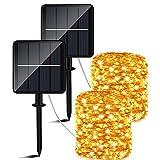 Catena Luminosa Esterno Solare - 50m 460 LED Luci Solari Esterno (Grande pannello solare)8 Modalità Impermeabili lucine da Esterni Energia Solare Decorative per Giardino Natale Pati Matrimonio Festa