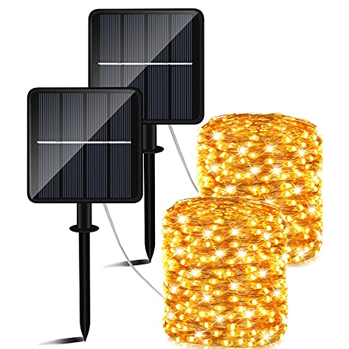 Catena Luminosa Esterno Solare,50m 460 LED Luci Solari Esterno (Grande pannello solare)8 Modalità Impermeabili lucine da Esterni Energia Solare Decorative per Giardino Natale Pati Natalizie Festa