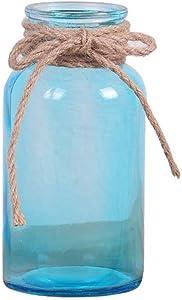 Outflower La Decoración Moderna del Florero de la Boca del Estilo Minimalista Adorna el Florero de Cristal(Azul)